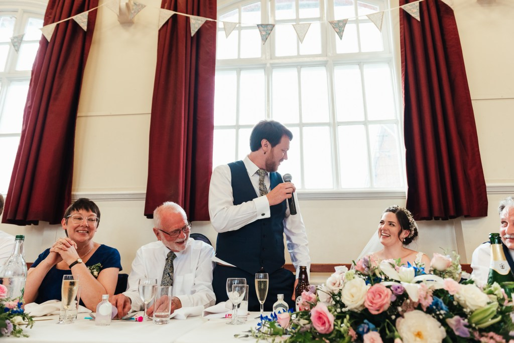 DIY village hall wedding speeches