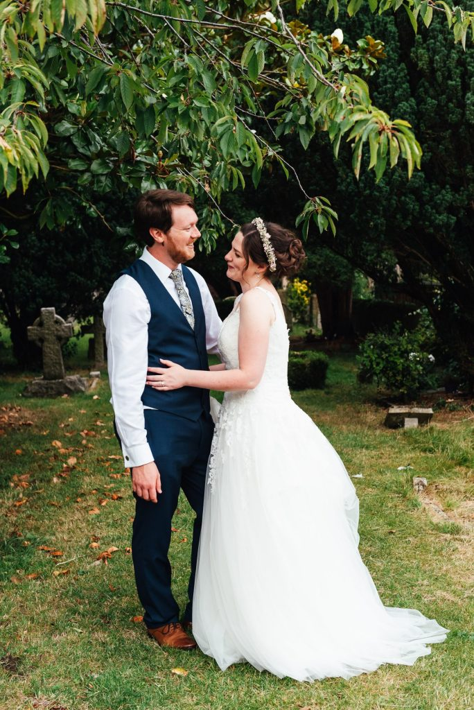 Natural wedding portrait for DIY village hall wedding