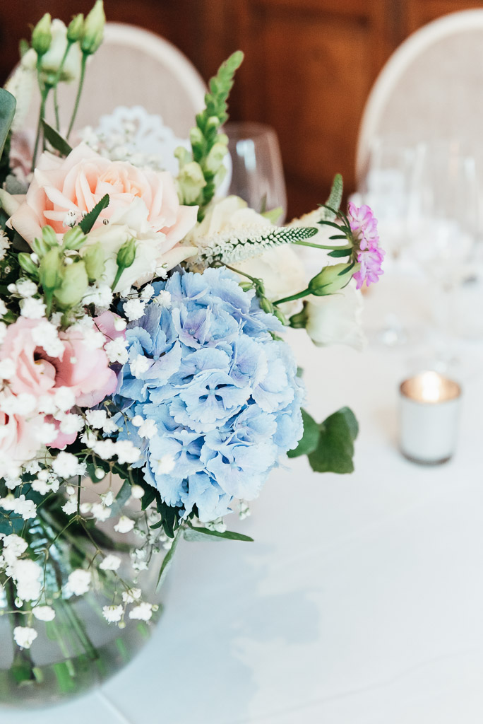 Beautiful blue hydrangea wedding bouquet
