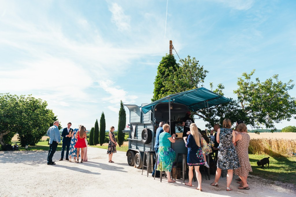 Outdoor wedding photography, French destination wedding with food truck dining