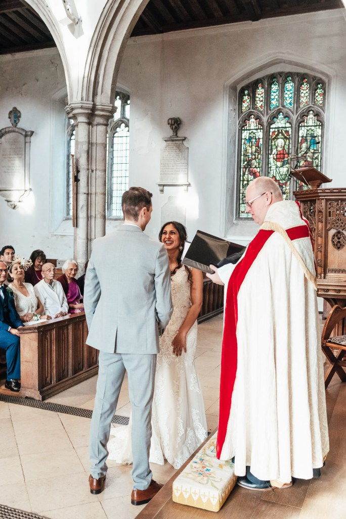 Exchanging of vows in Christian wedding ceremony