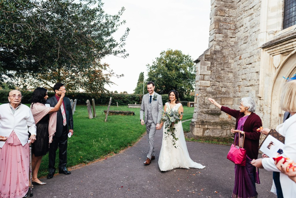 Candid confetti wedding photography