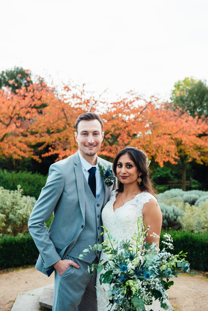 Natural couples portrait at Forty Hall wedding
