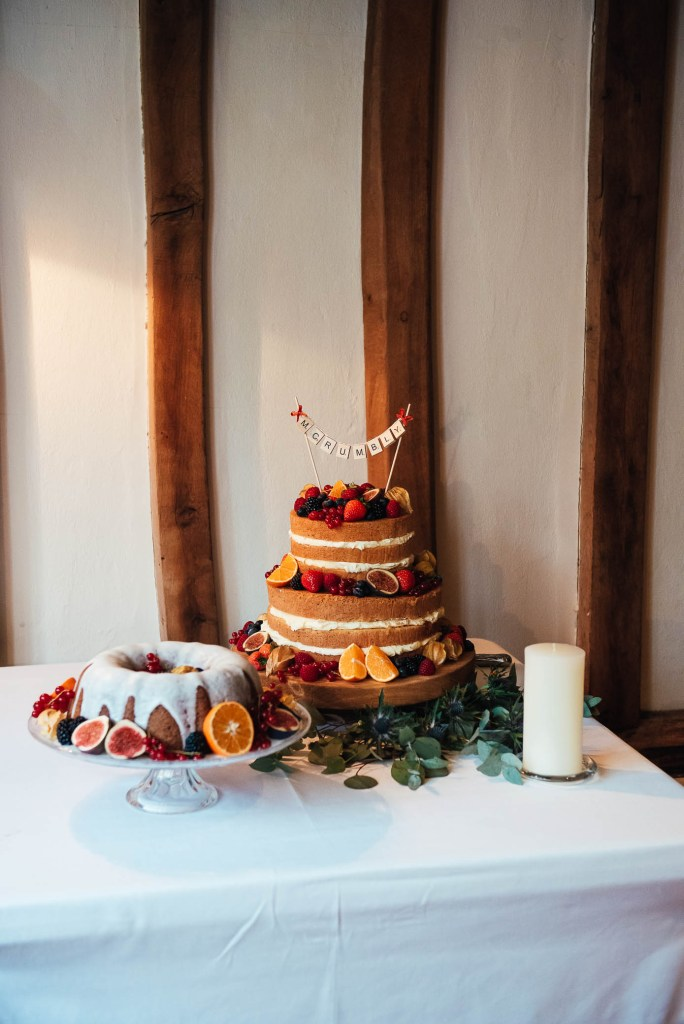 Beautiful three tiered naked autumnal wedding cake