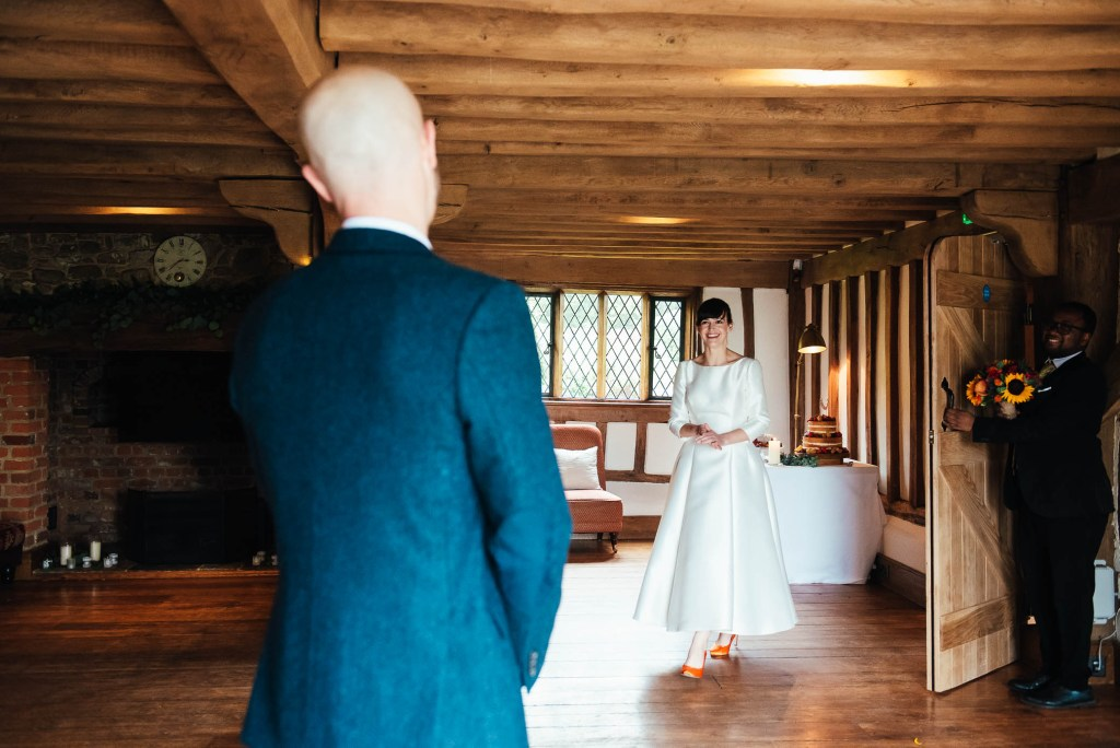 Bride and groom first look, Cain Manor wedding photography