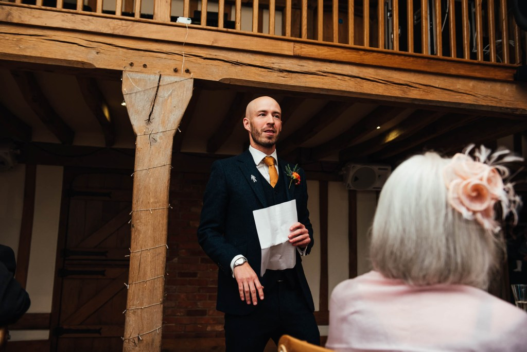 Best man gives a rousing speech