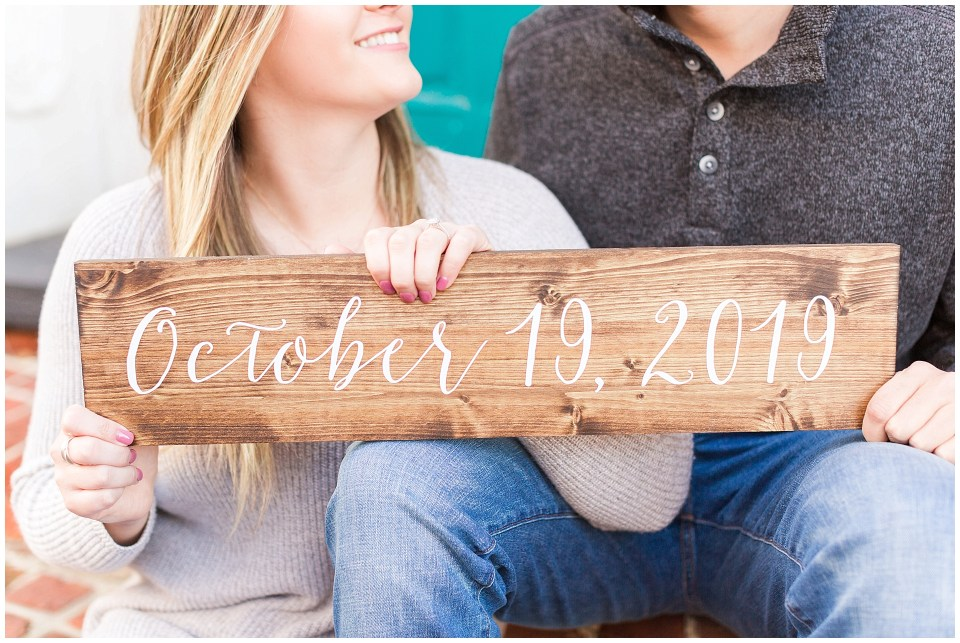Wooden Save the Date Sign for Engagement Photos in Leesburg Virginia