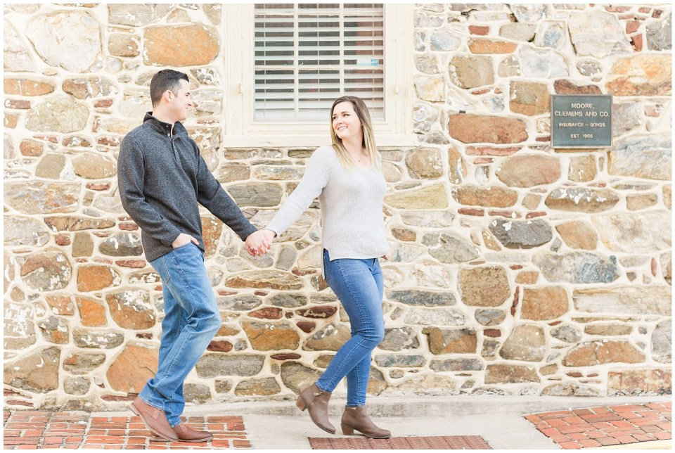 Stone wall engagement photos in downtown leesburg virginia
