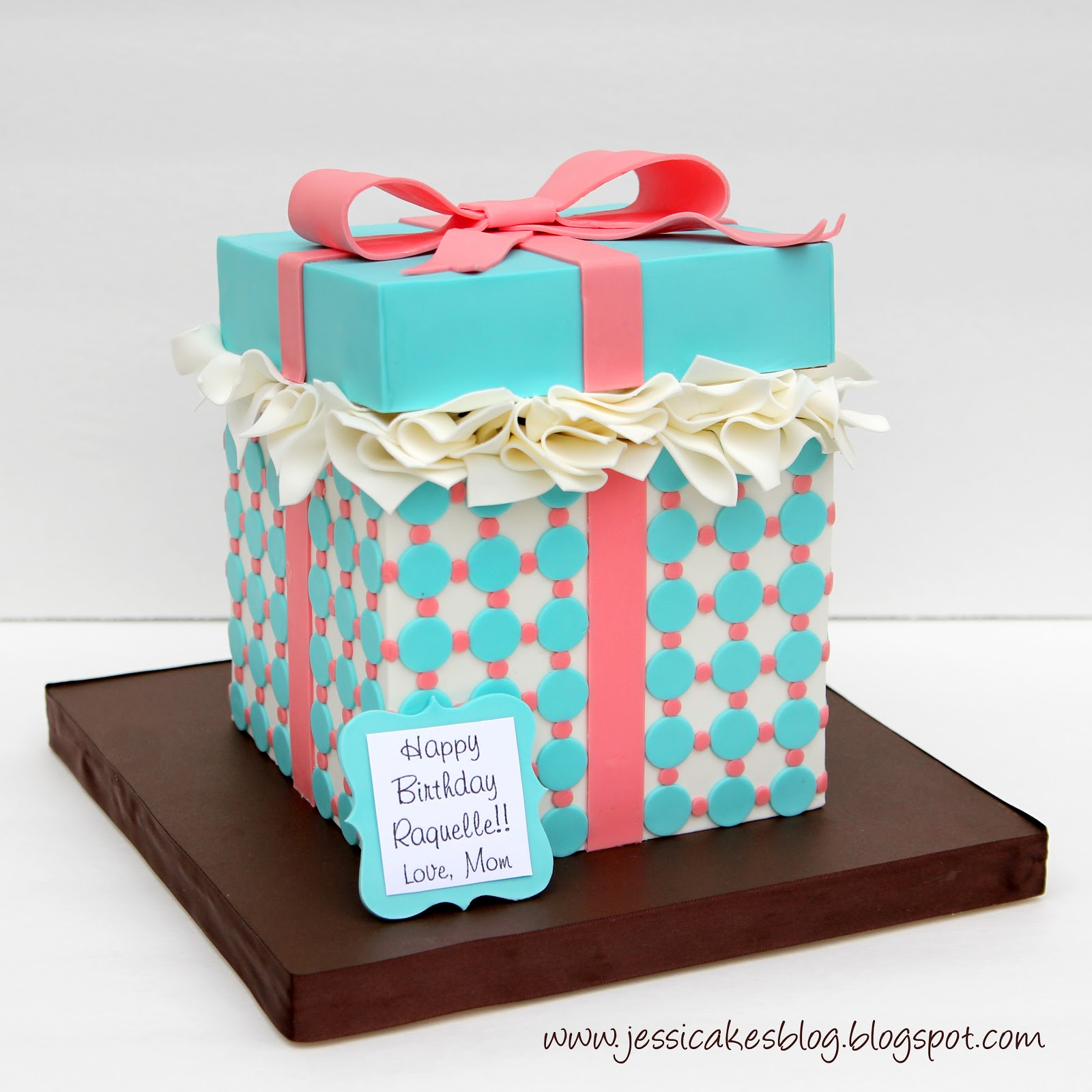 Gift box cake tutorial jessica harris cake design ohi almost forgot for the tagi just found a fun border i liked online and cut it from the modeling chocolate i printed the tag on card stock negle Image collections
