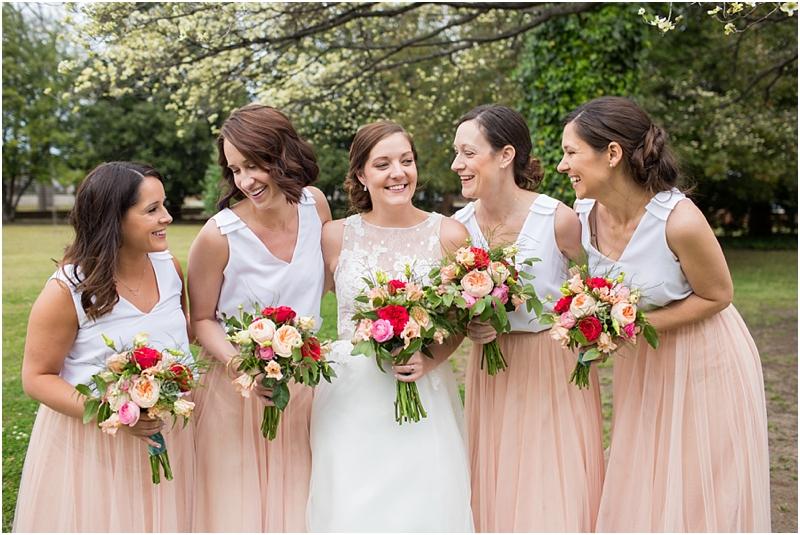 Bride with bridesmaids spring wedding