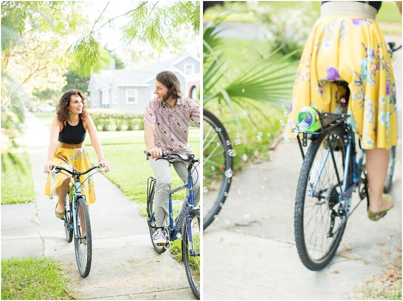 engagement session bike ride