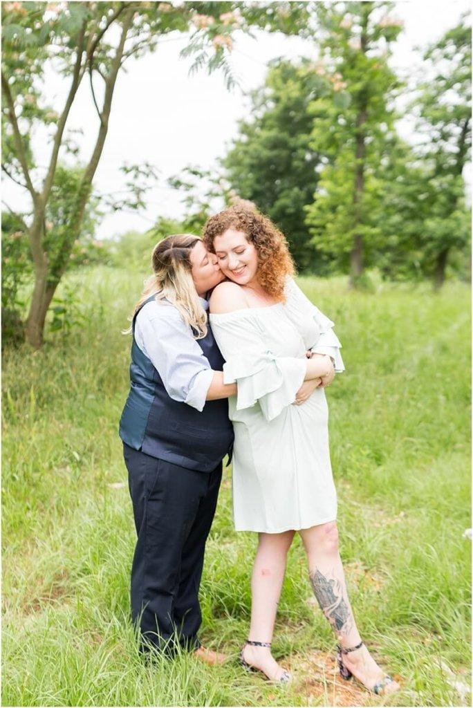 cute lesbian wedding hug pose