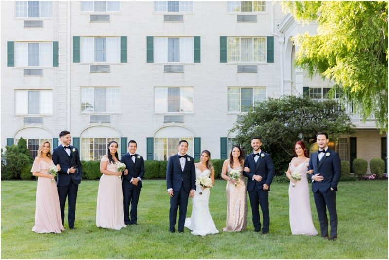 The Madison Hotel wedding photos Badgley Mishka wedding dress Morristown, New Jersey Bridal Party wedding photos posing