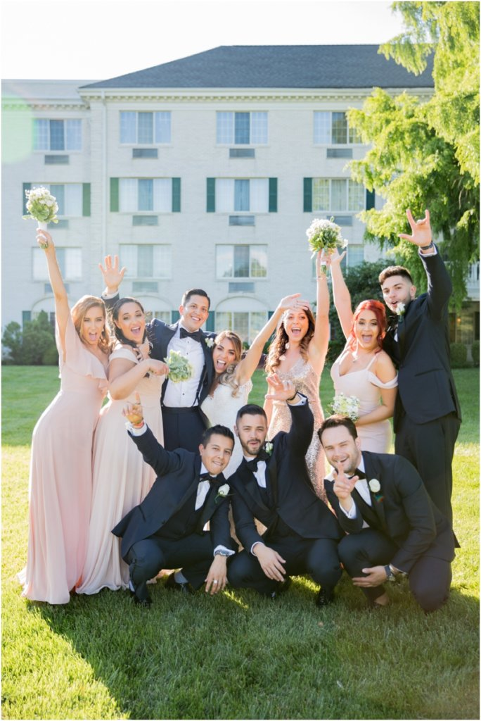 The Madison Hotel wedding photos Badgley Mishka wedding dress Morristown, New Jersey Bridal Party wedding photos