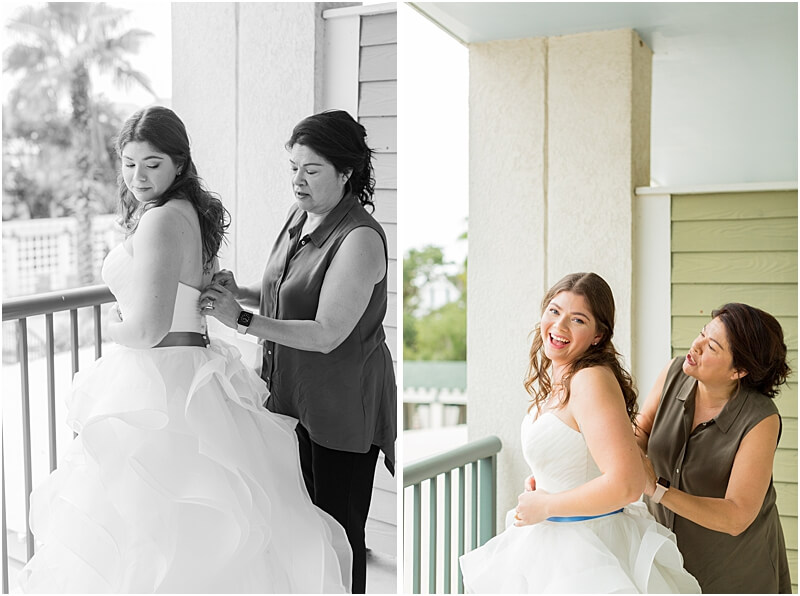 LGBTQ+ Citadel Beach Club Bride with Mother getting dress put on