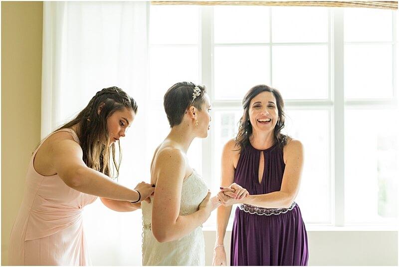 LGBTQ+ Citadel Beach Club Bride getting ready with wedding party