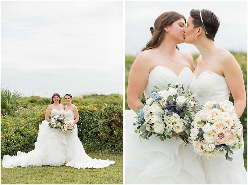 LGBTQ+ Citadel Beach Club Wedding Portraits with Bouquets
