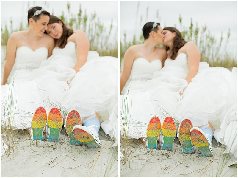 LGBTQ+ Citadel Beach Club Married Couple Showing off Rainbow Shoes on the Beach