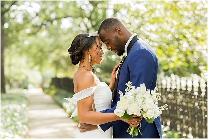 Columbia, SC Wedding Couple with Heads Together at Lace House at Arsenal Hill