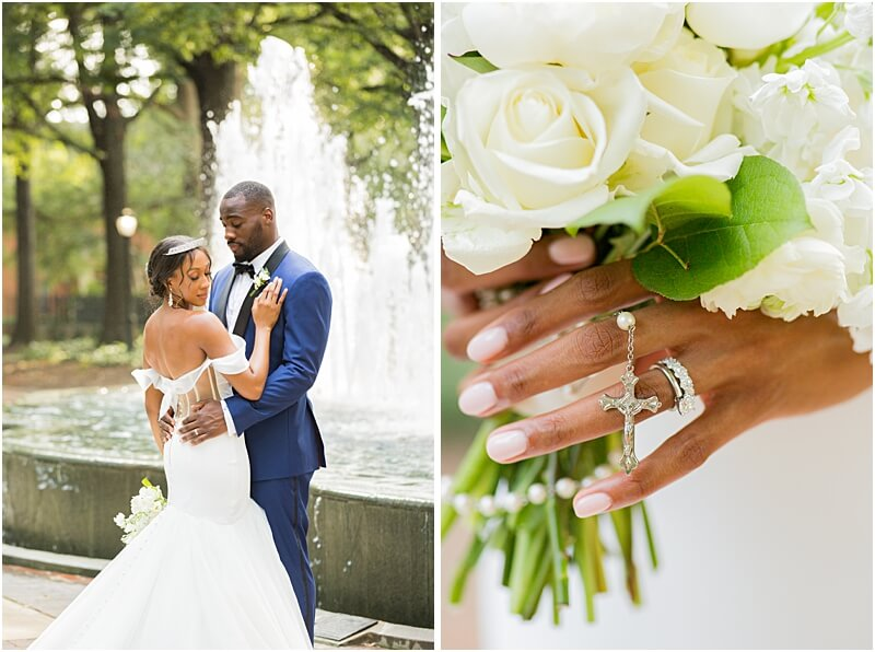 Columbia, SC Couple and Wedding Bouquet Details at Lace House at Arsenal Hill