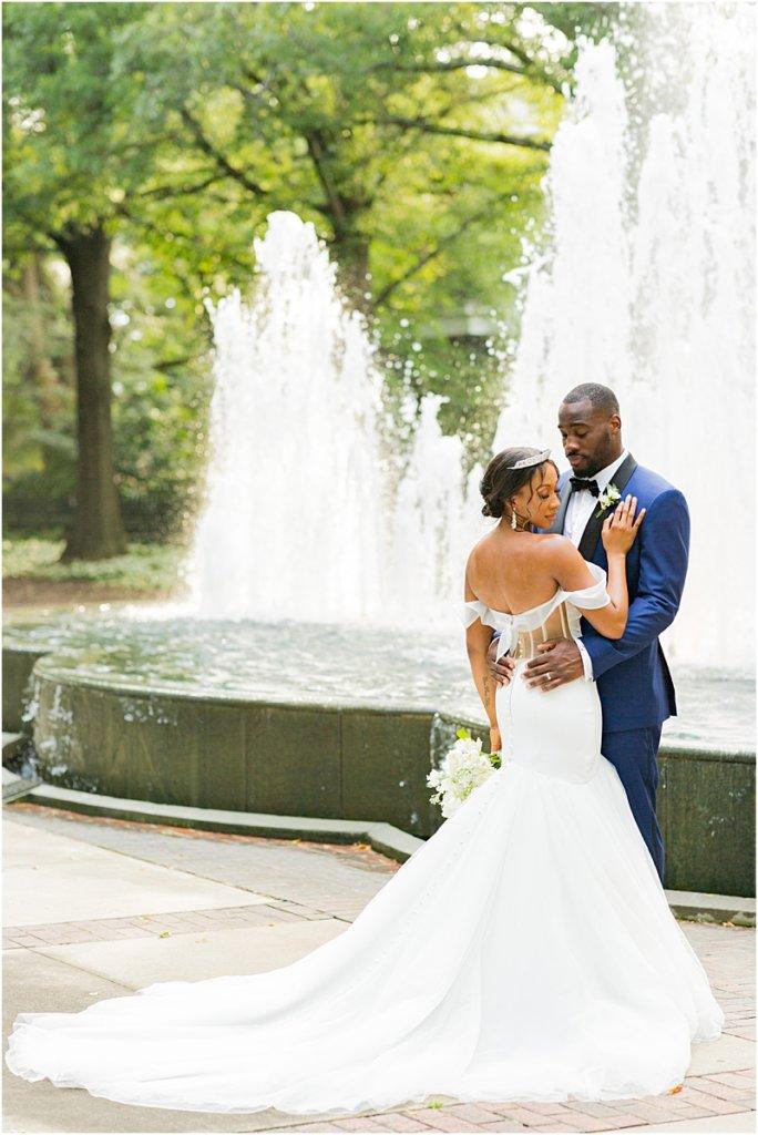 Columbia, South Carolina Wedding Couple at Lace House at Arsenal Hill Fountain