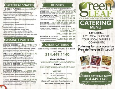 Menu design for Catering at GreenLeaf Market