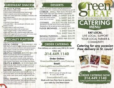 Menu design for Catering at GreenLeaf Market
