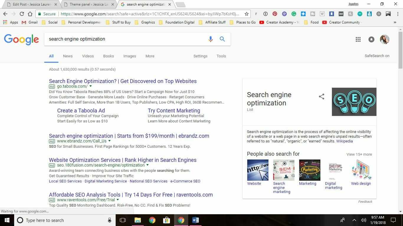a page in google