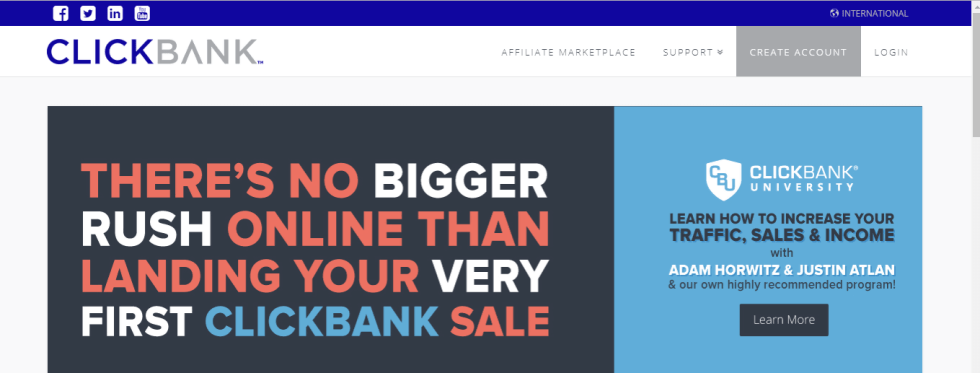 clickbank home page for affiliate marketers