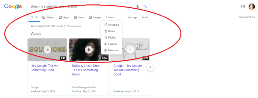 google search menu with icons update