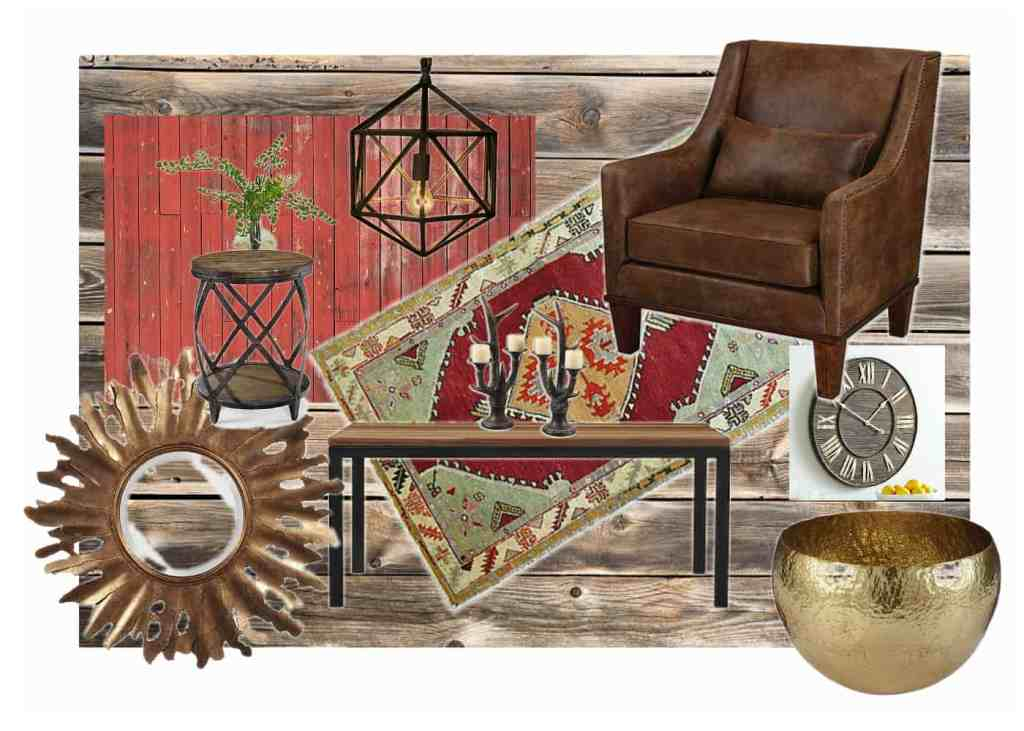 Concept boards-Rustic ski lodge living oom