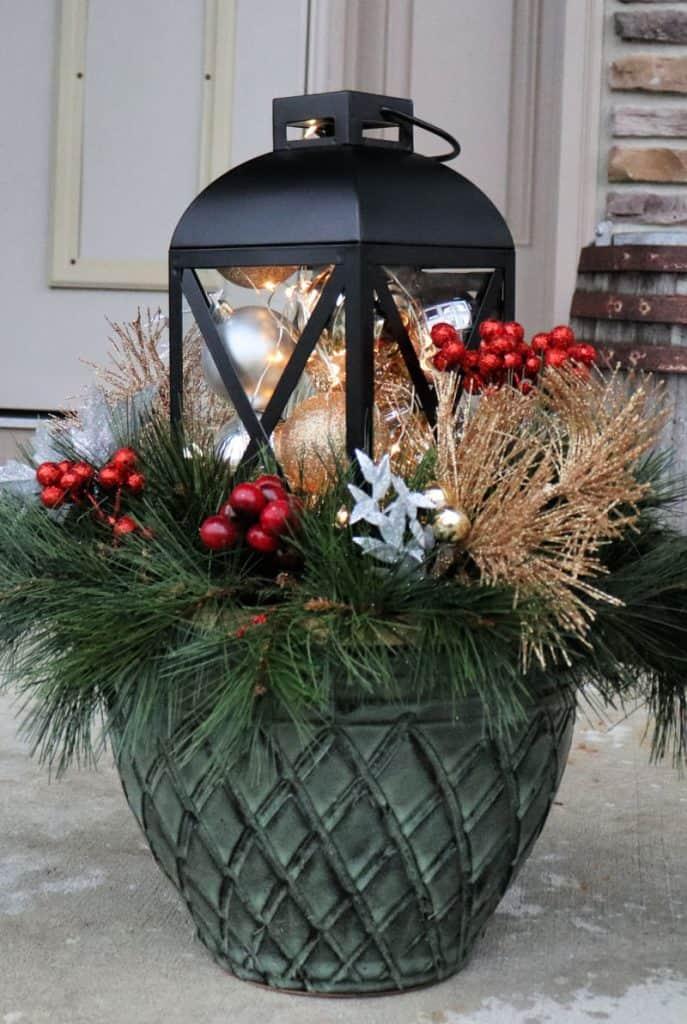Outdoor Christmas Decorations-Christmas planter Creative ramblings