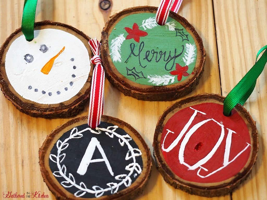 DIY Christmas Gift Wooden-Slice-Ornaments-Gathered in the Kitchen