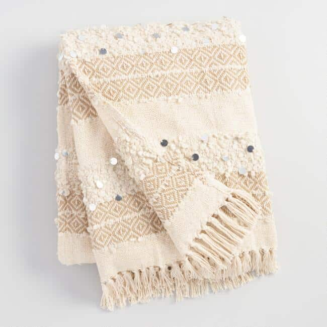 Ivory Moroccan Style Wedding Blanket-last minute gifts