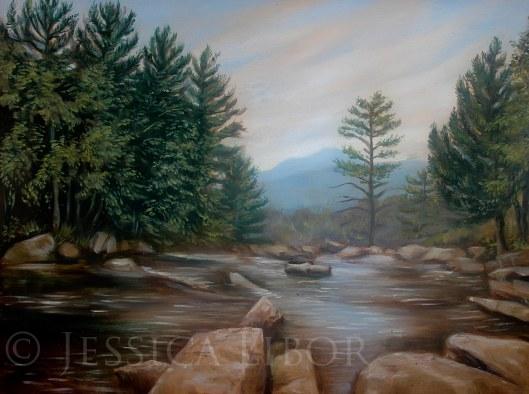 "Jackson Falls, oil on panel, 10""x12"", Jessica Libor 2013"