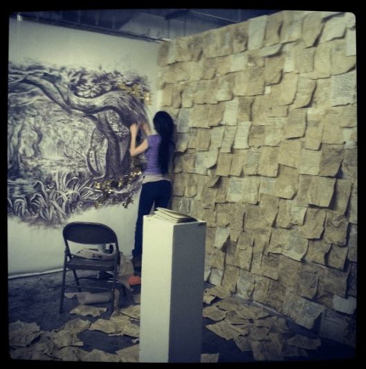 Working on a drawing installation at PAFA
