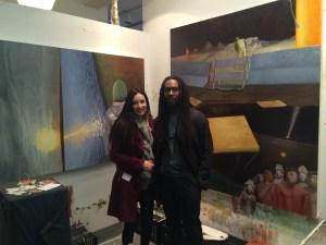 Jessica Libor and Arc Manoro Niles in his studio at NYAA