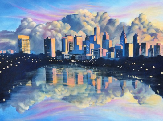 Philadelphia Dusk, oil on canvas, 30%22 by 40%22, Jessica Libor 2015