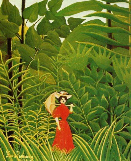 Woman-with-an-Umbrella-in-an-Exotic-Forest-rousseau