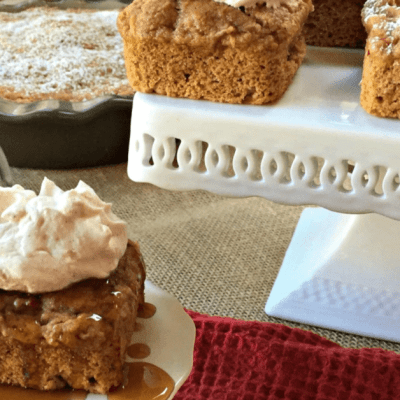 Easy Apple Spice Cake with a Salted Caramel Sauce