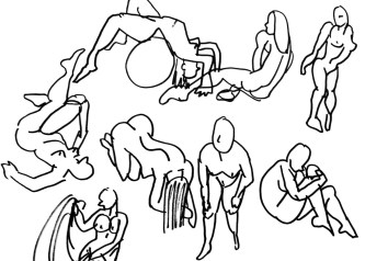 """30 second gesture studies"", felt tip marker on A4 sized paper, 2012"