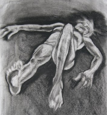 """woman lying down"", charcoal on A2 sized paper, 2014"