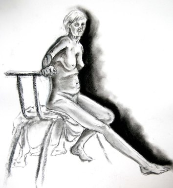 """Woman sitting - light and shade"", charcoal on A2 sized paper, 2014"