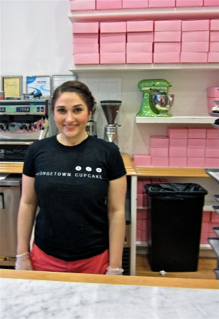 "Hayley Moir just started working at Georgetown Cupcake and served cupcake orders today. ""The red velvet is definitely the most popular flavor,"" she said. Her favorite is the Vanilla² cupcake."