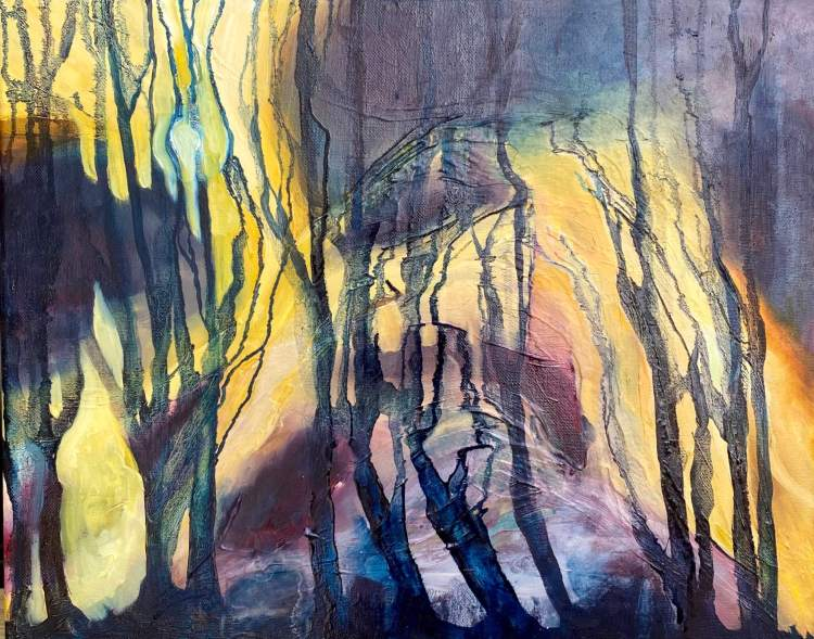 Moonlit Forest - Abstracted Landscape Painting