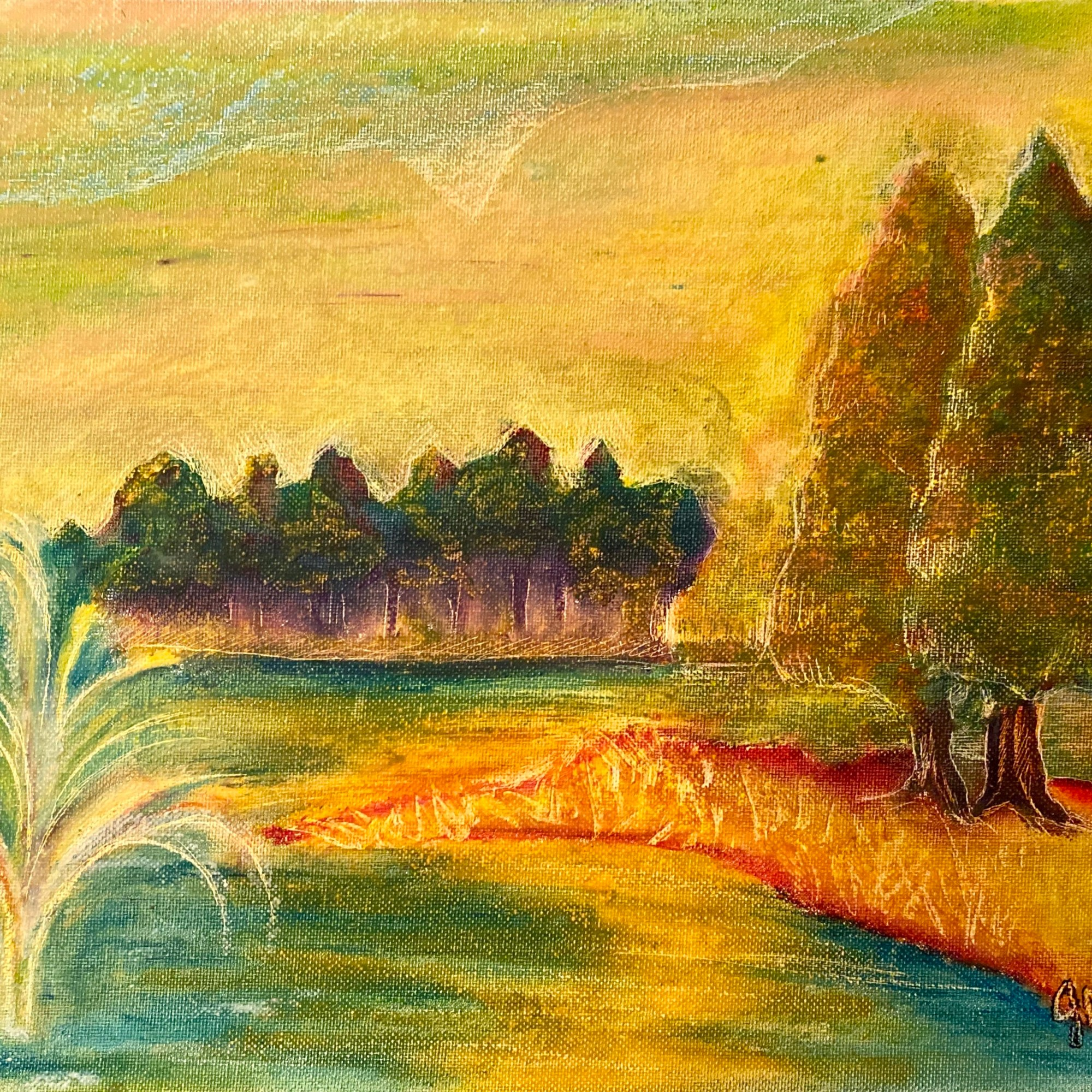 The Pond - oil pastel from my early University days. Only prints are currently available.