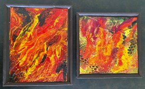 """Aflame"" and ""On Fire"" Set - painted collagraph plates, mounted on brown painted stretcher frames."