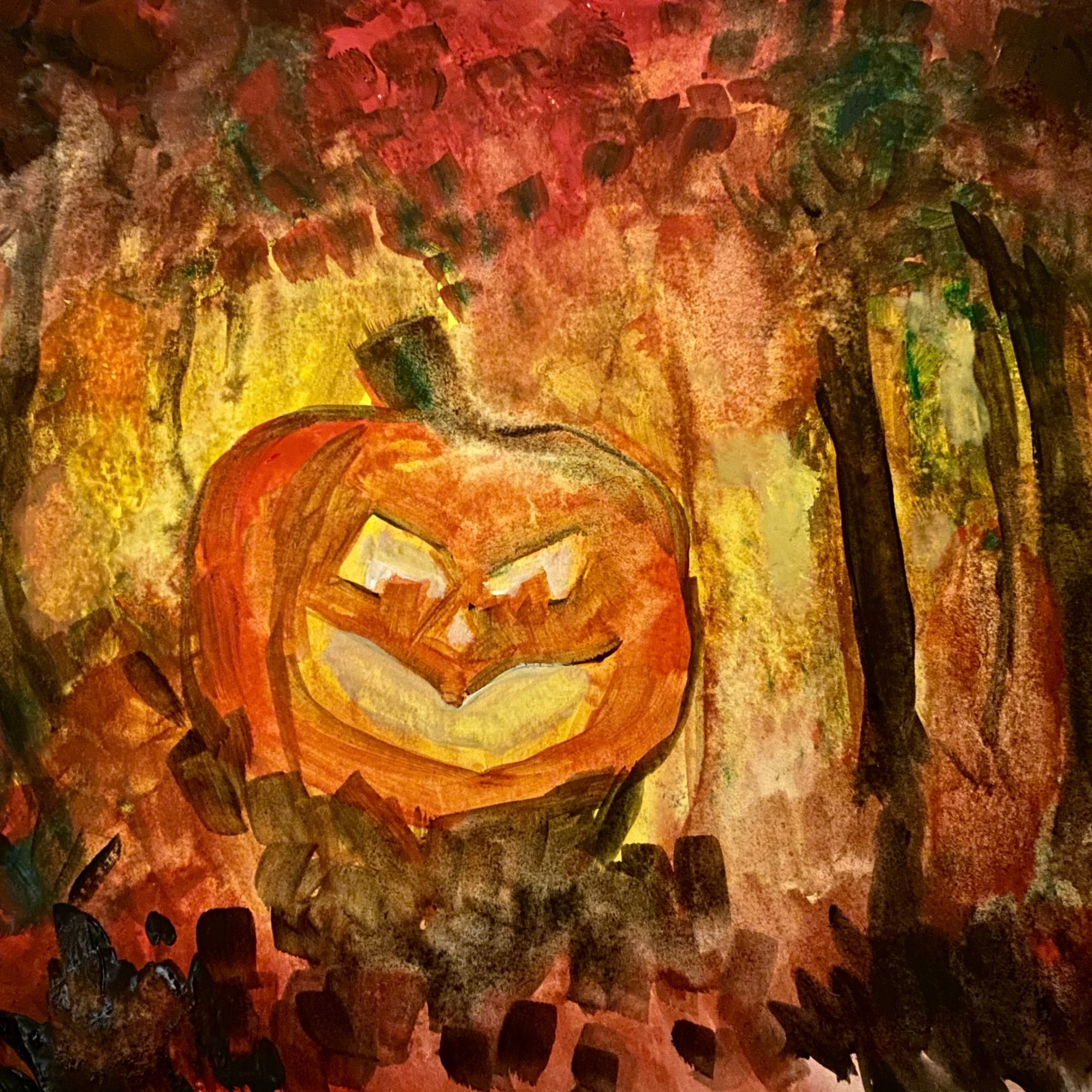 """The Jack O'Lantern - Original illustration (uncropped painting) featured on """"The Forest"""" (published on Spillwords Press)."""