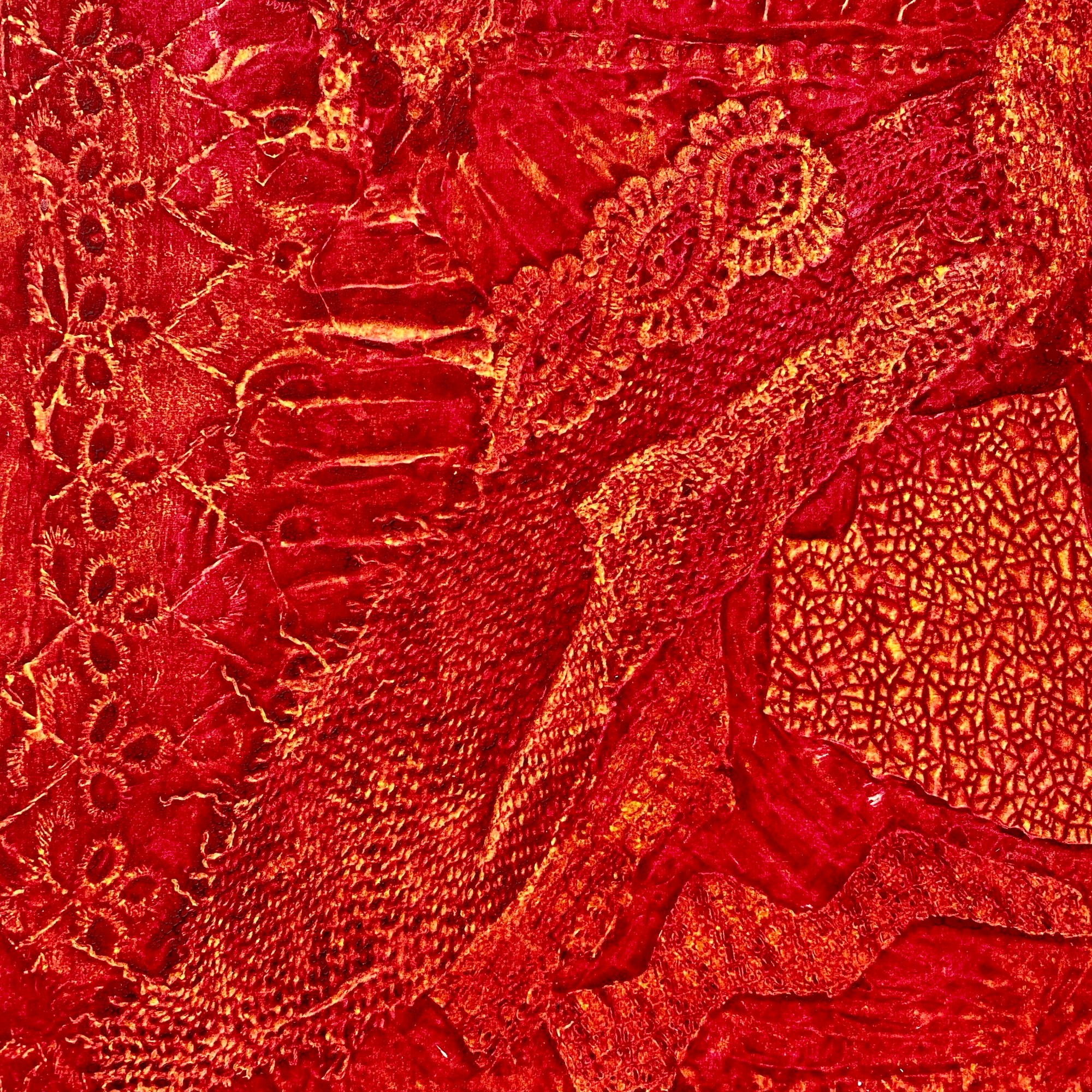 Untitled Red Collagraph