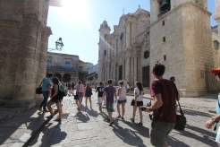 UM Hillel students engaged with the Cuban Jewish community and visited cultural and historic sites, including the four main plazas of Old Havana. Here, the group goes on a walking tour through the Plaza de la Catedral. Photo credit: Jessica M. Castillo